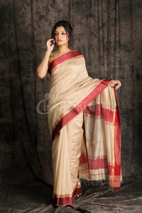 BEIGE HANDLLOM SILK SAREE WITH MARRON SATIN BORDER - Charukriti