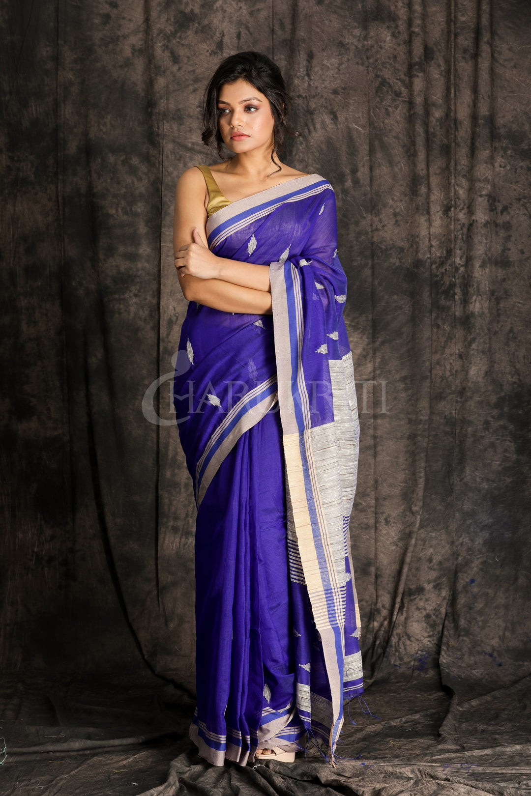 NAVY BLUE BLENDED COTTON SAREE WITH WOVEN  GHICHA PALLU
