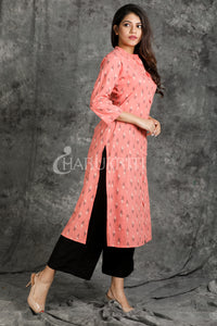 peach katki textured pearl button kurti - Charukriti