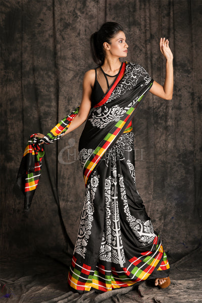 BLACK SILK WITH CHECKERED PALLU  BORDER AND FLORAL PRINT