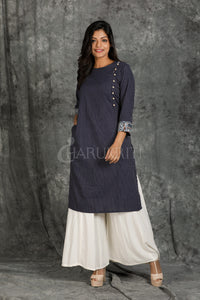 Prussian Blue All Over Running Stitched with Side Button Opening and Side Pocket Kurti