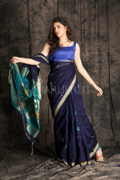 NEVY BLUE BLENDED COTTON SAREE WITH ZARI PALLU