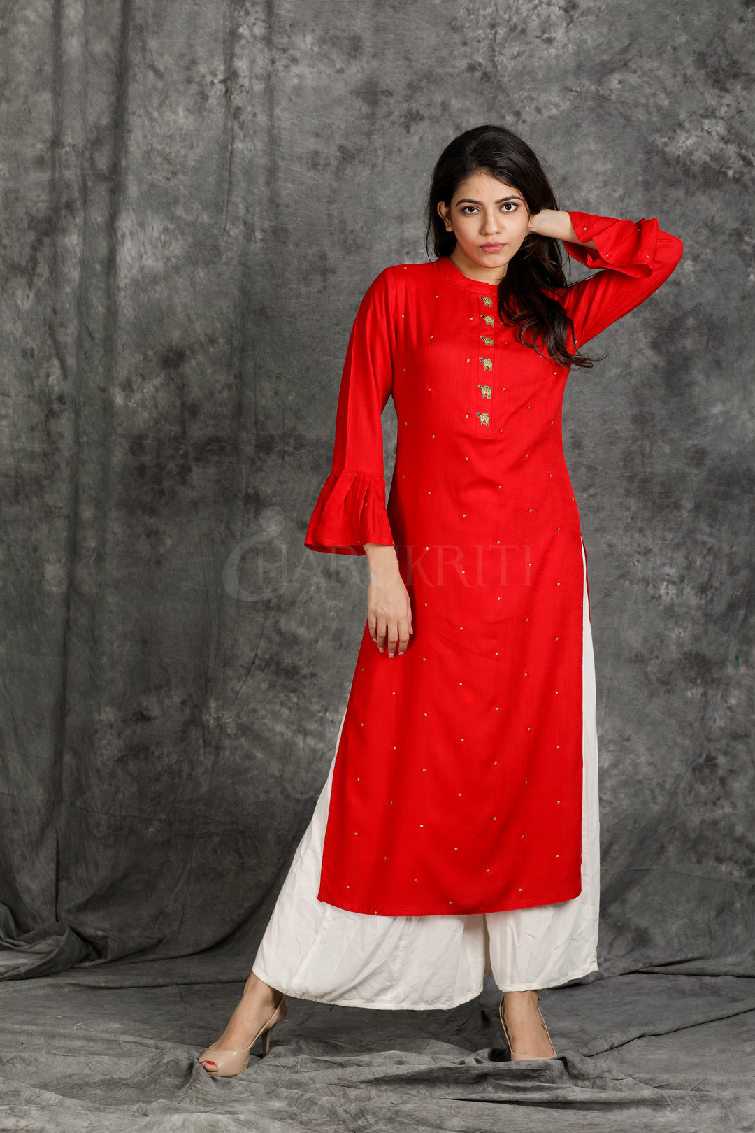 Red Resham Embroidered Camel Button kurti