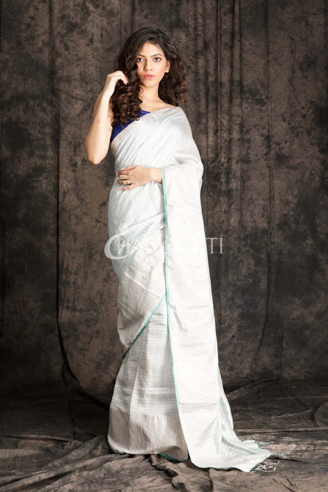 WHITE MATKA SILK SAREE WITH SEA GREEN CHECKERED DESIGN - Charukriti