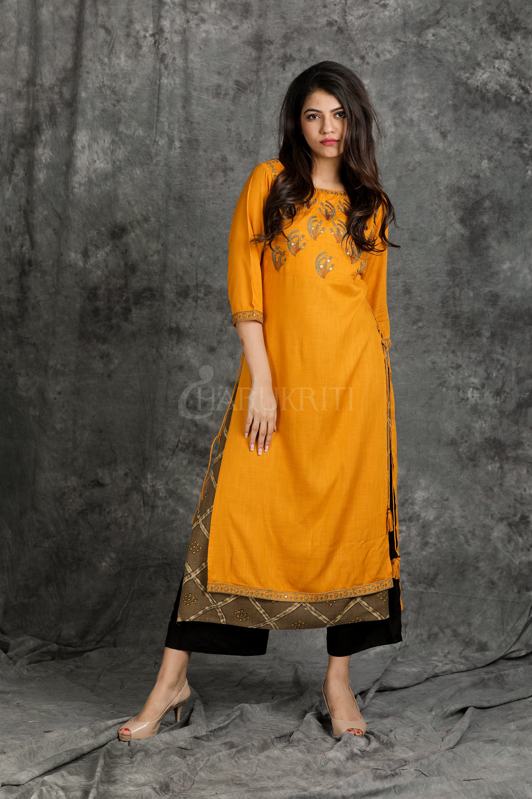 Mustered Yellow Resham, Foil Mirror Worked Double Layered Rayon Kurti