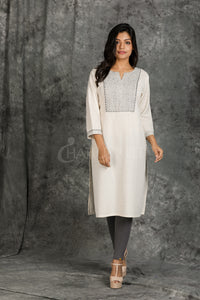 Resham Running Stitched White Khadi Cotton Kurti