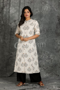 White script Printed Kurti with coconut shell button - Charukriti