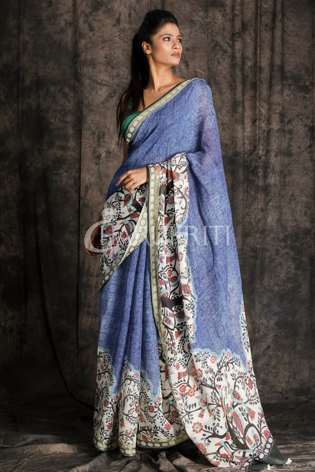 Digital Printed Linen with Border - Charukriti