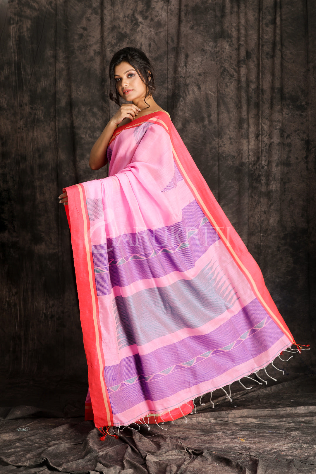 FUCHSIA PINK COTTON SAREE WITH RED BORDER AND WOVEN TEMPLE DESIGN