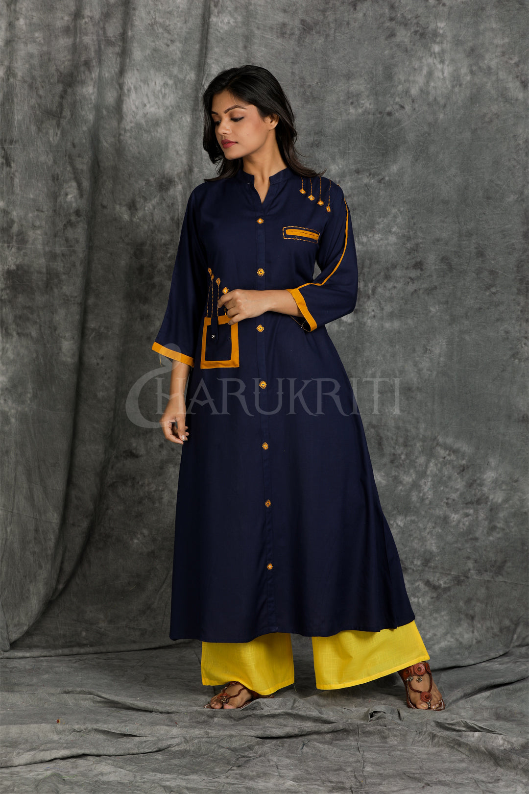 Blue Mirror Work Cotton Kurti