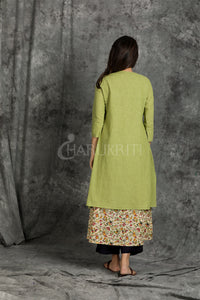 Olive Green Jacket and Small Floral Printed Kurti with Dori