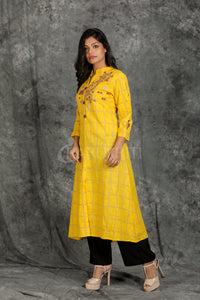 Chequered Yellow kurti with Embroidery and Embroidered Button - Charukriti