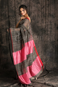 BLACK BLENDED COTTON SAREE WITH WOVEN GHICHA AND PINK PALLU - Charukriti