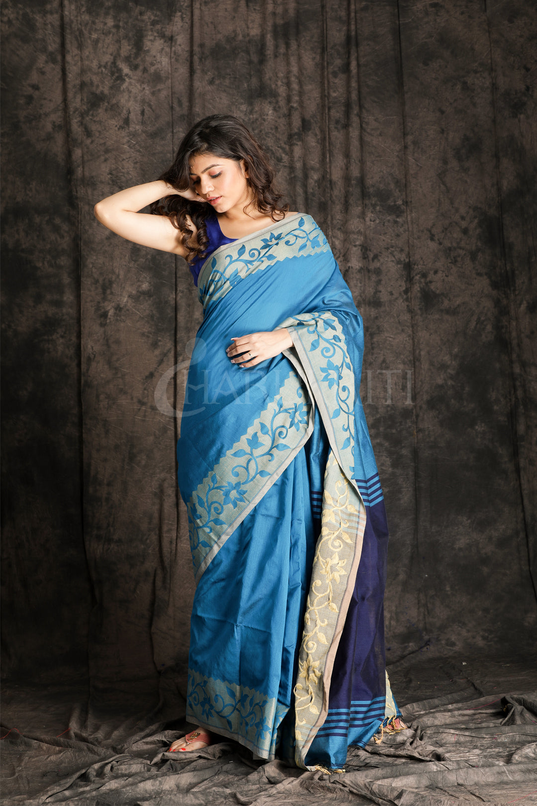 ROYAL BLUE SAREE WITH JAMDANI BORDER AND NAVY BLUE PALLU