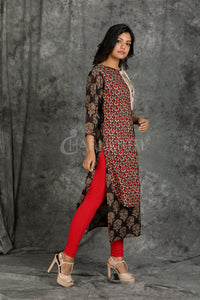 Resham Embroidered and Printed Overlapping Kurti