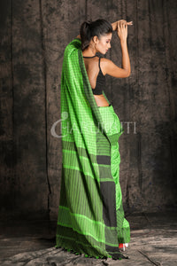 EMERALD GREEN WITH BLACK CHECK COTTON SAREE - Charukriti