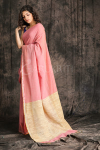 ROUGE PINK ORGANIC COTTON SAREE WITH GHICHA PALLU