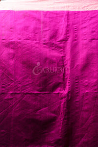 BLUE BLENDED COTTON SAREE WITH MAGENTA WOVEN PALLU AND ZARI BORDER