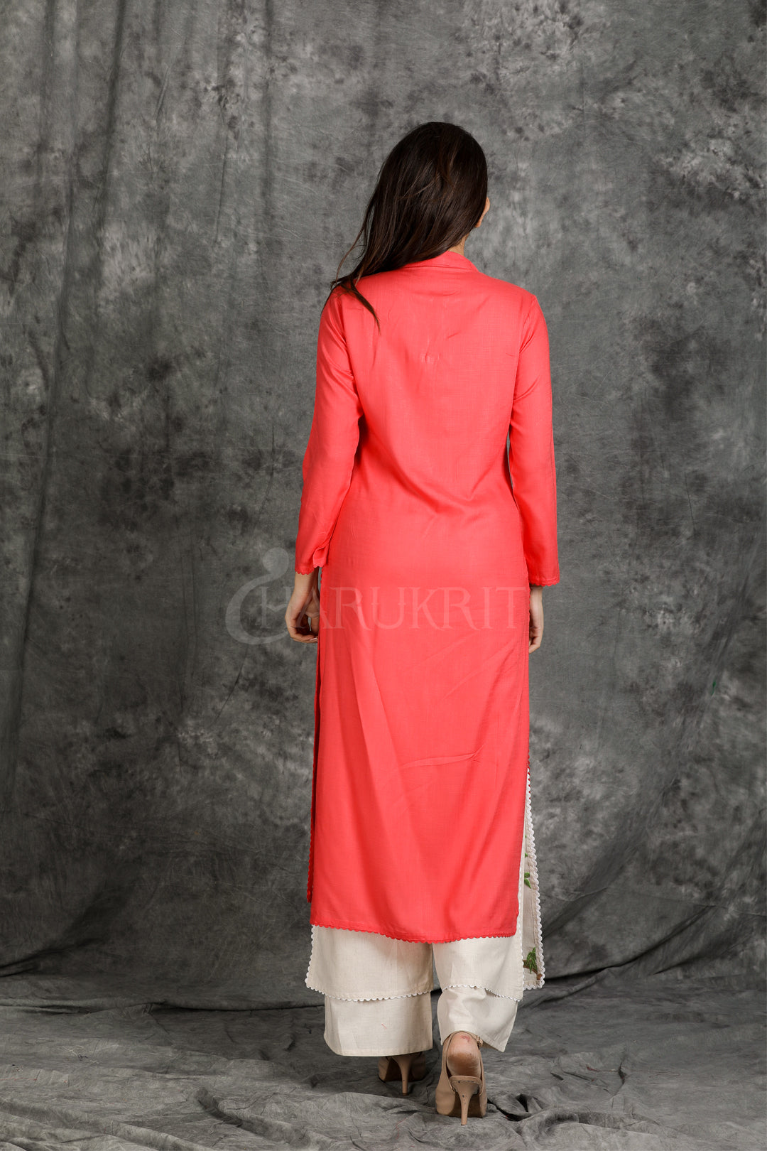 Crimson red resham satin worked kurti with double layer palazzo - Charukriti