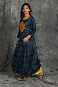Blue and Black Checkered Embroidered Kurti