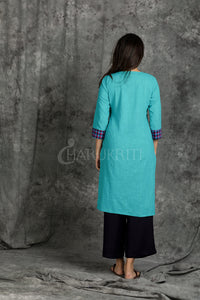 Turquoise Blue Kantha Stitched Kurti with Front Checkered Pocket