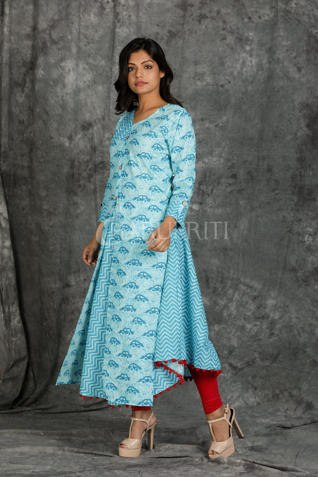 Sky Blue Car Printed Kurti with Pompom