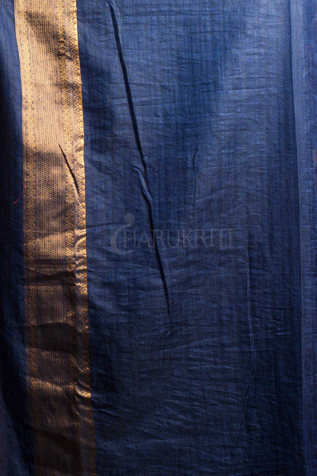 SCARLET RED MANIPURI SILK WITH NAVY BLUE PALLU AND BORDER
