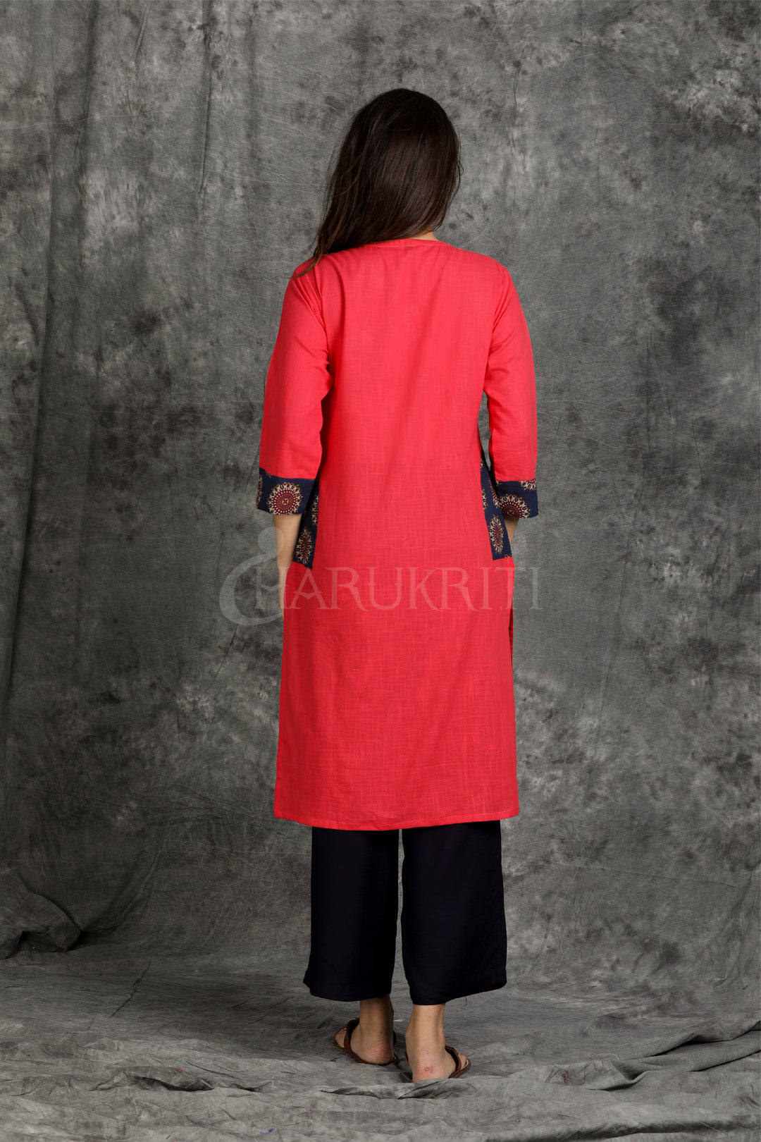 Crimson Red Kurti with Blue Gold Printed Patch