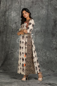 Resham Embroidered Overlapping Layered Floral Printed Kurti