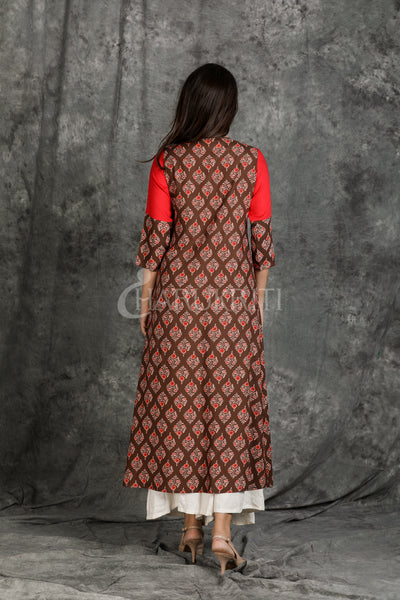 Apple Red Resham Embroidered Front Silted Double Layered Kurti - Charukriti