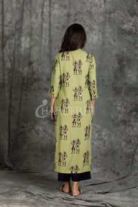 Rust and Green Dual Toned Gold Printed Tribal Motif  Kurti with Black  Pant