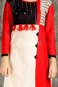 Red and Off White Mix and Match Cotton Kurti