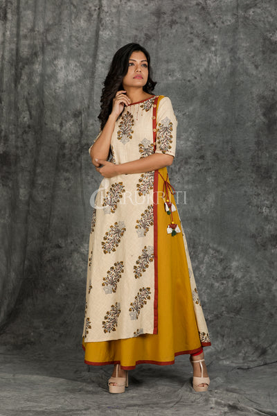 Floral Printed Double Layered Kurti - Charukriti