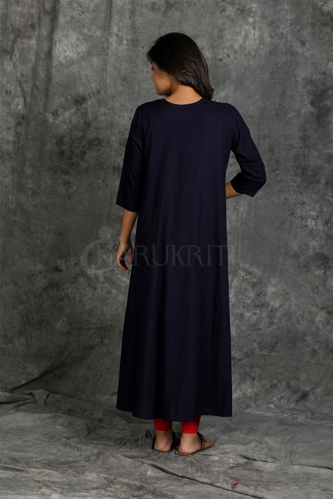 Midnight Blue Gotakari Worked  Rayon Kurti