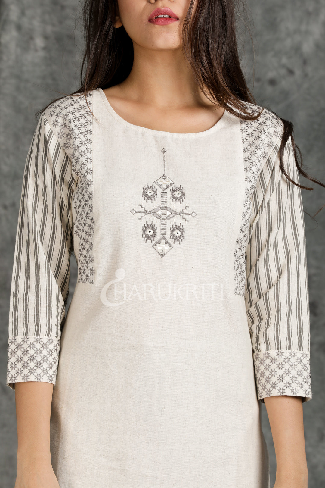 White Resham Embroidered Kurti With Grey & White Stripped Palazzo - Charukriti
