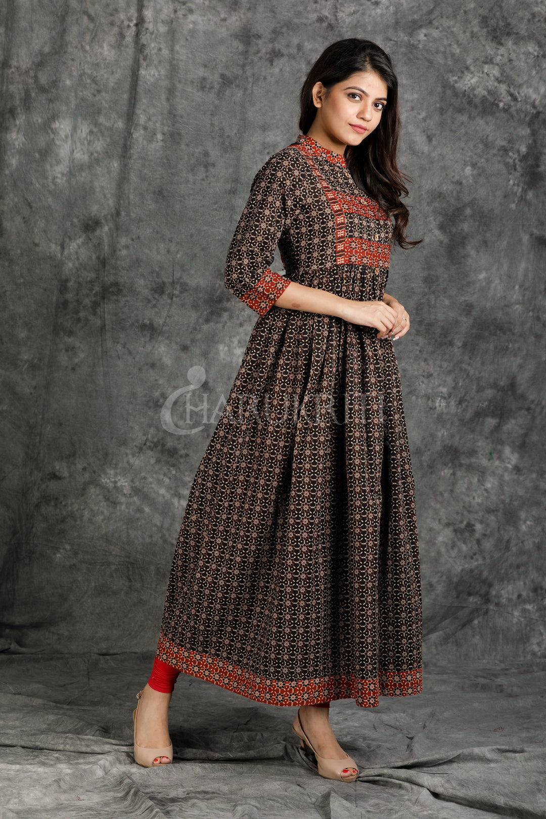 Resham Embroidered with Mirror Work, Floral Printed Cotton Anarkali Kurti with Border