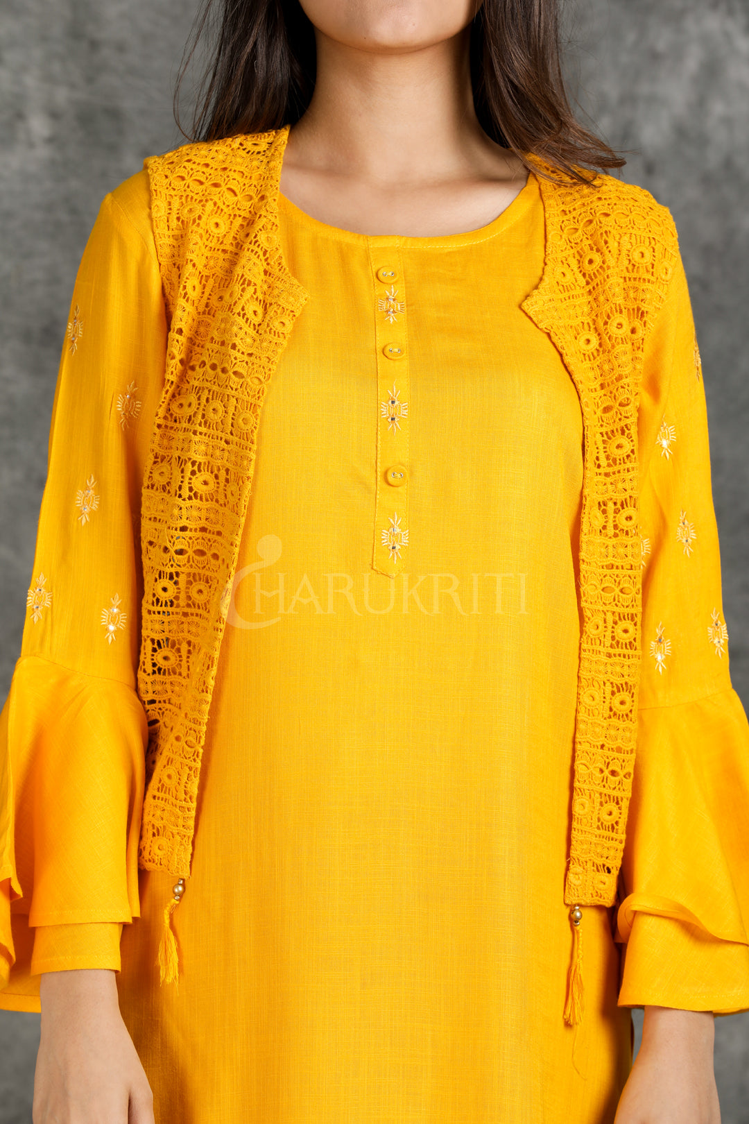 Yellow Resham Foil Mirror Work With Cut Jal Work Jacket