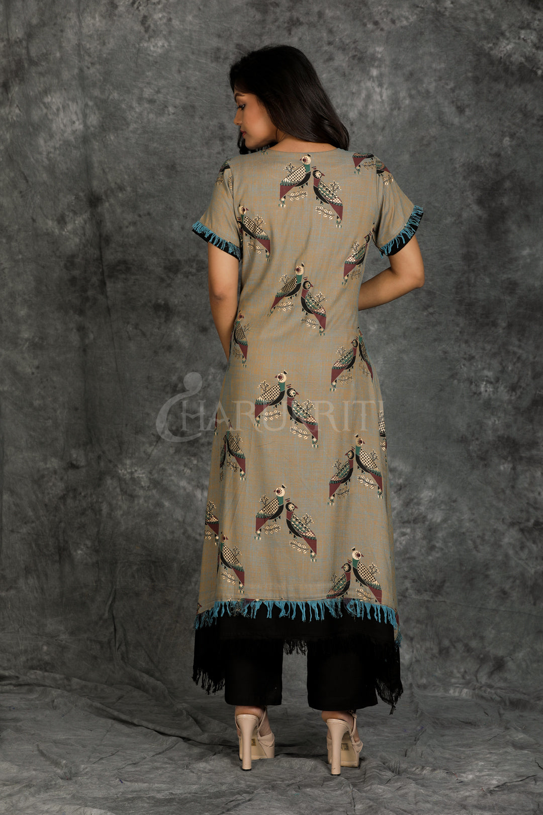 Gold Printed Grey Kurti with Front Dori and Black Palazzo