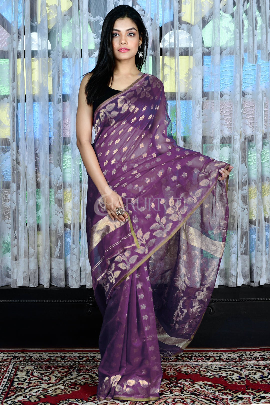 LILAC JAMDANI WITH ALL OVERE ZARI WORK