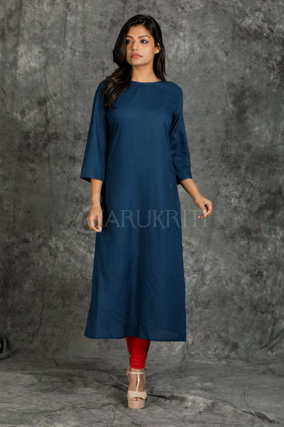 Teal Blue Plain Kurti with White Floral Embroidered Waist Coat