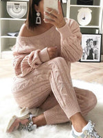 2018 Women's Stylish Round Neck Two Piece Casual Warm Knit Wears Sets Jumpsuits