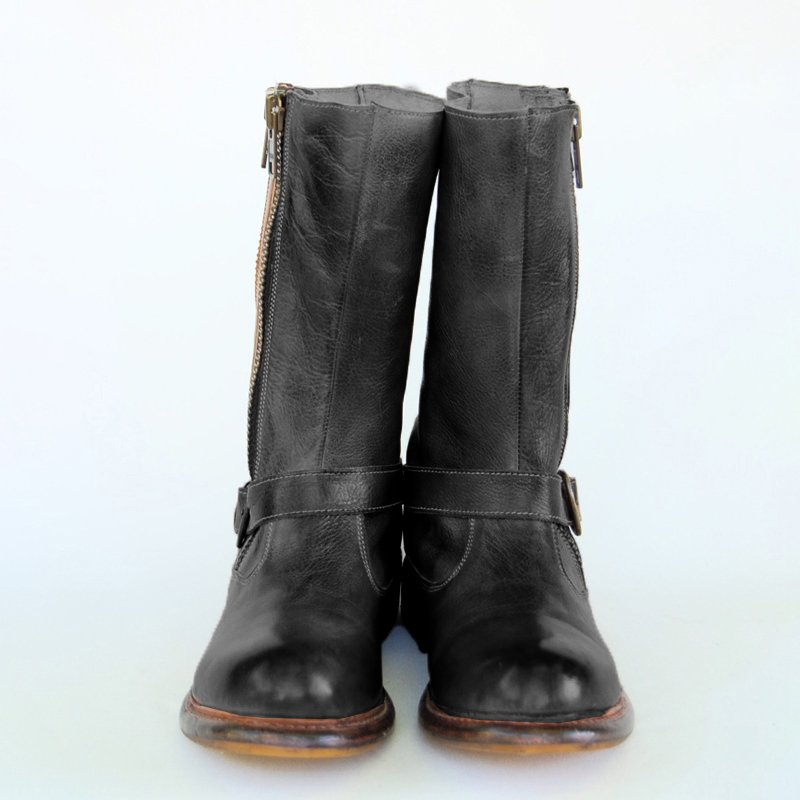 Women Vintage Mid Calf Zipper Boots Casual Chic Boots With Buckle