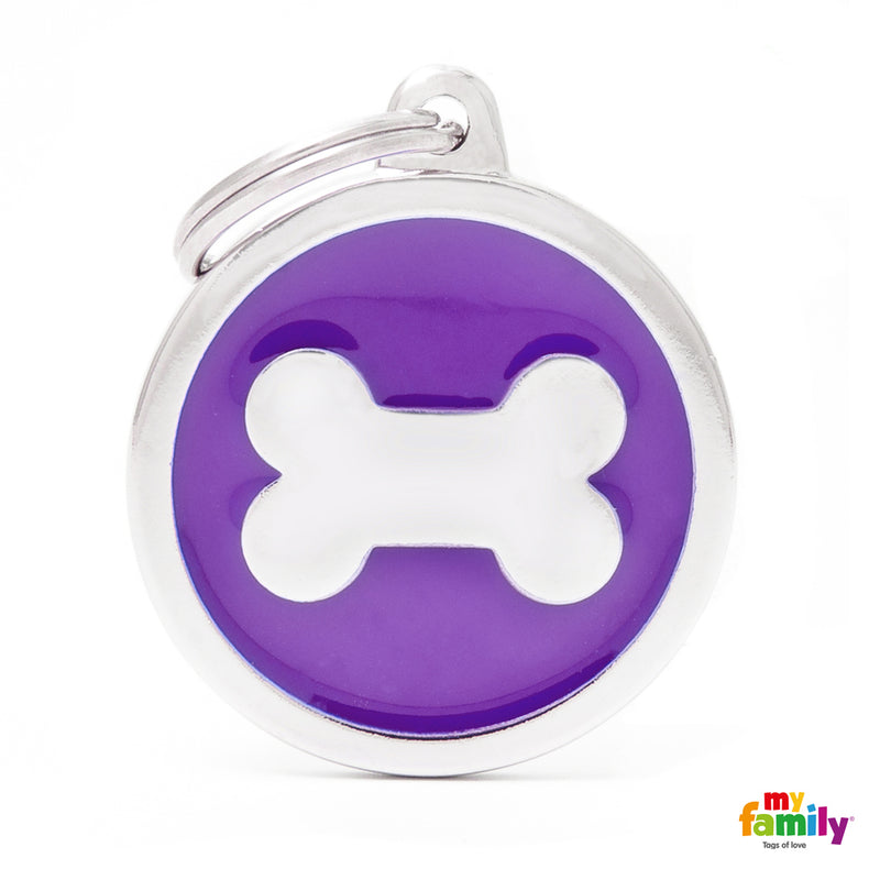 My Family CLASSIC BIG PURPLE CIRCLE BONE ID TAG