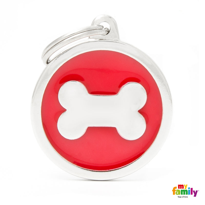 My Family CLASSIC BIG RED CIRCLE BONE ID TAG