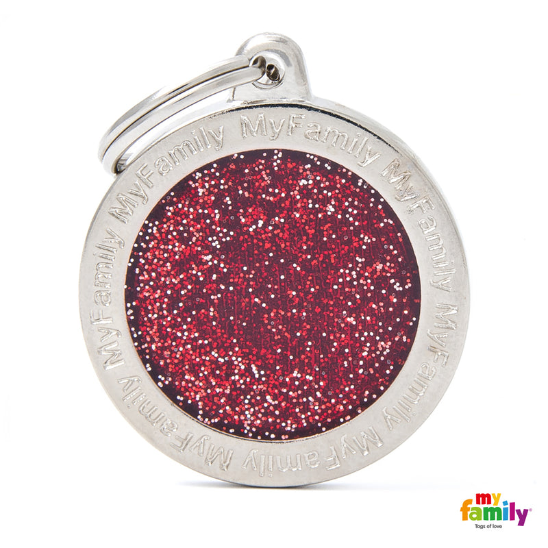 "My Family SHINE ""BIG CIRCLE RED GLITTER"" ID TAG"