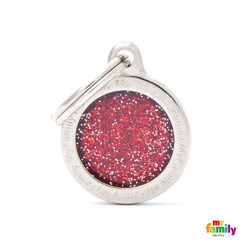 "My Family SHINE ""SMALL CIRCLE RED GLITTER"" ID TAG"