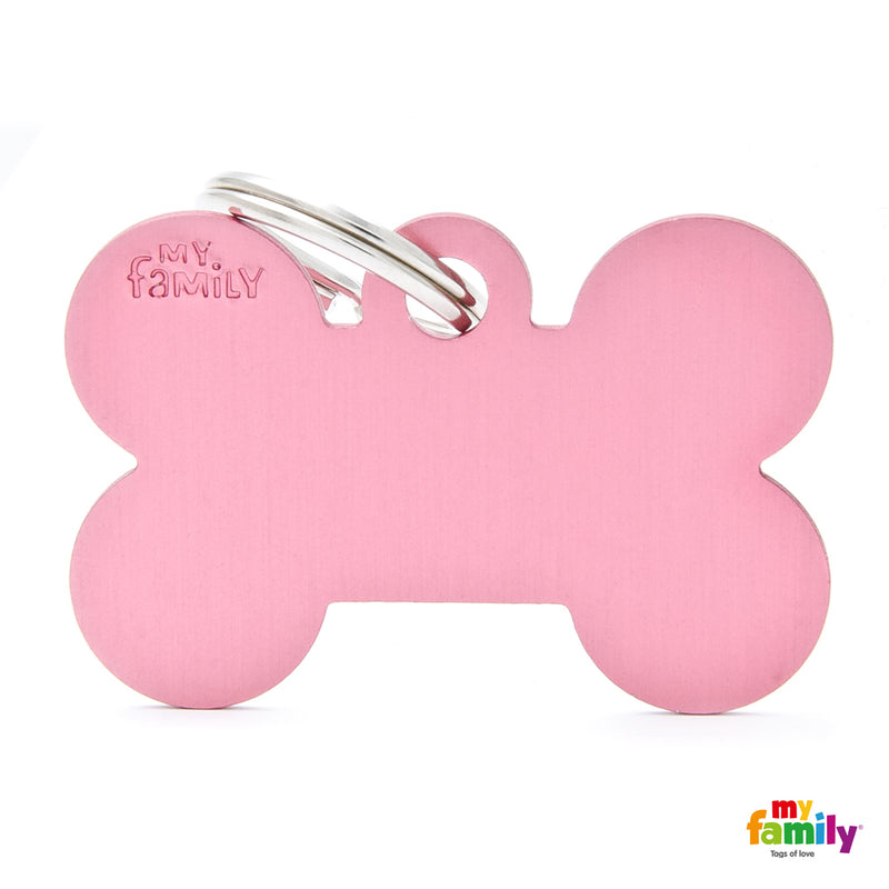 My Family ID TAG BASIC COLLECTION BONE PINK IN ALUMINIUM