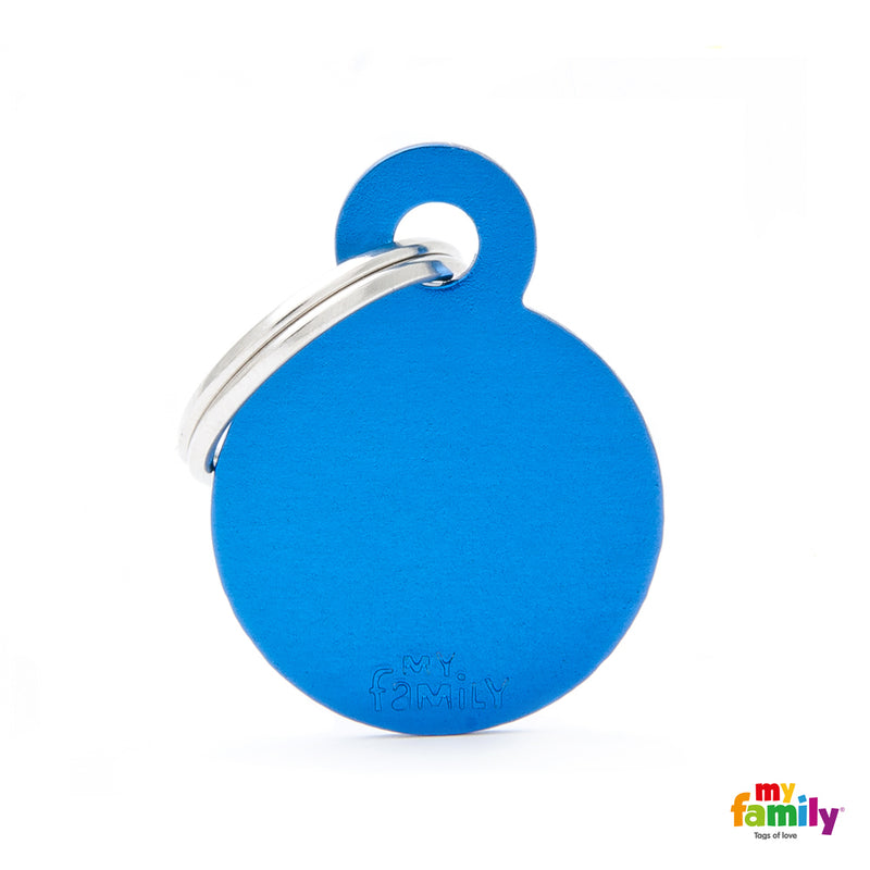 My Family ID TAG BASIC COLLECTION SMALL ROUND BLUE IN ALUMINUM