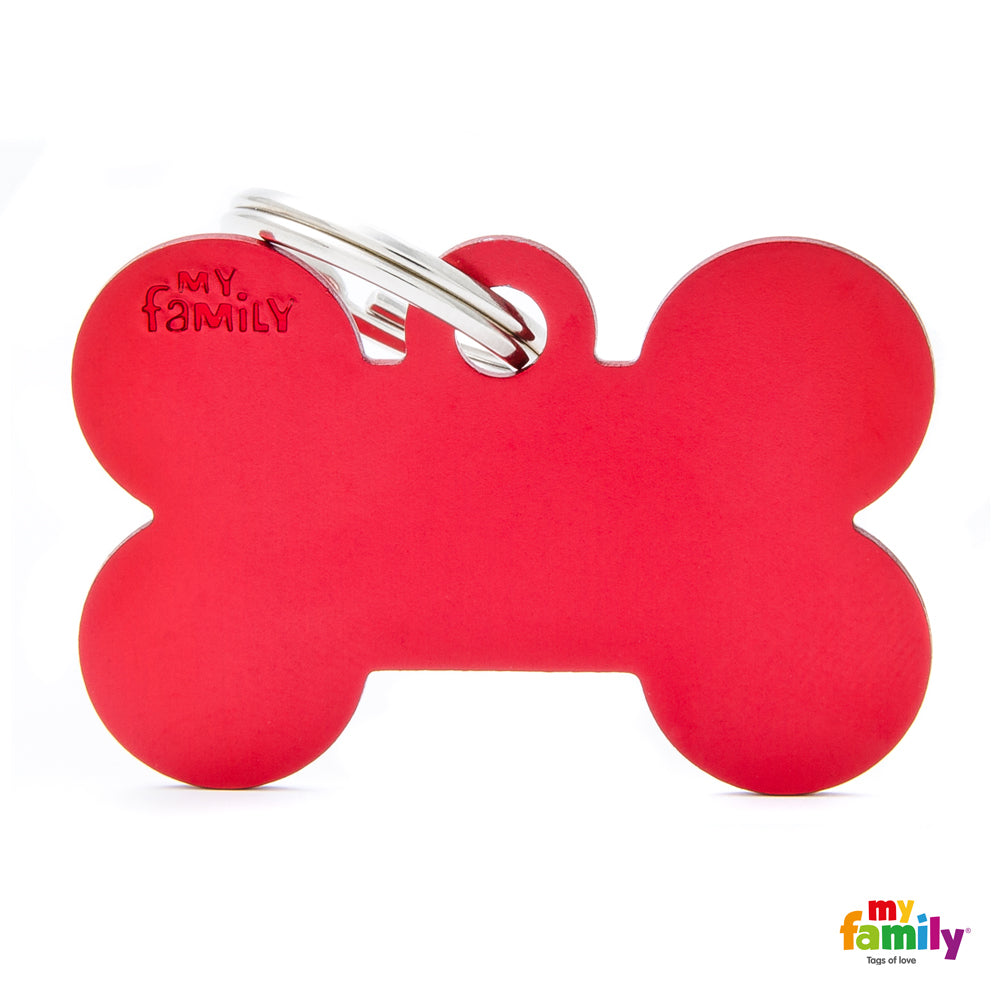 My Family ID TAG BASIC COLLECTION BONE RED IN ALUMINUM