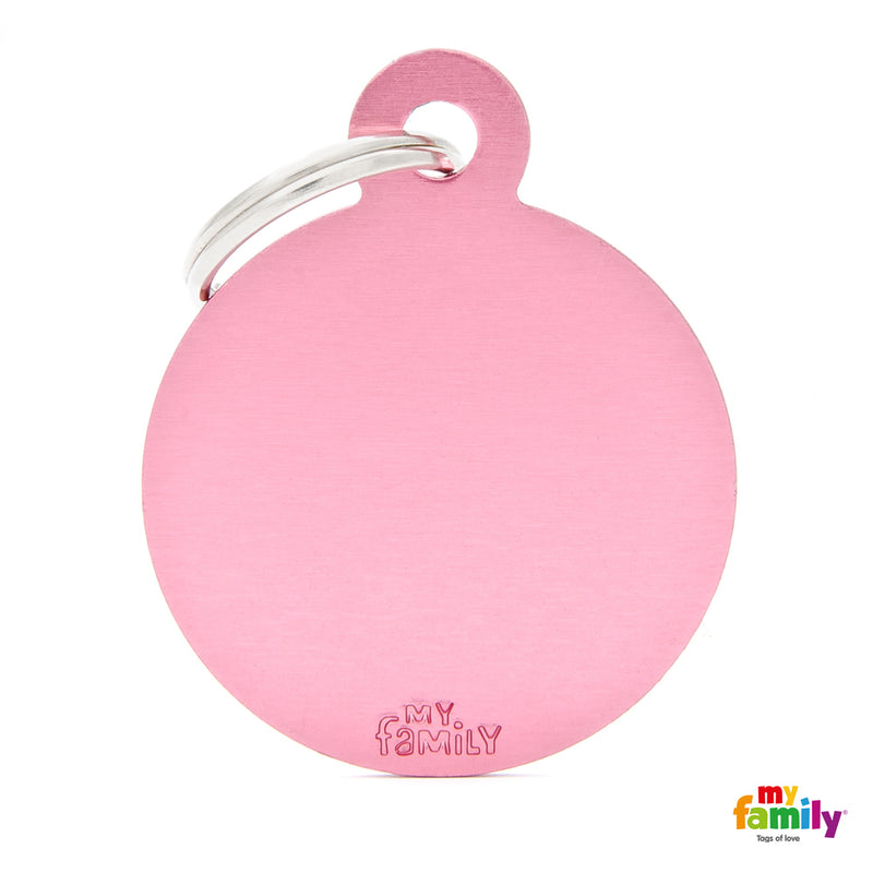 My Family ID TAG BASIC COLLECTION BIG ROUND PINK IN ALUMINUM